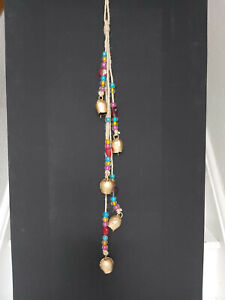 HANDMADE INDIAN IRON BELLS DECORATIVE HANGING WITH BEADS ON JUTE STRING