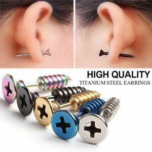 1Pair Hypoallergenic titanium Steel screw Piercing Ear Stud Earring Random Color