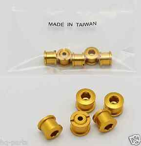 BICYCLE BIKE ALUMINUM DOUBLE CHAIN RING CRANK NUT BOLT SCREW 5 SETS GOLD YELLOW