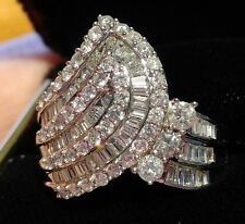 Vintage Diamond Cocktail Ring 14K WG, 2 carats, Round/Baquette Stones size 9