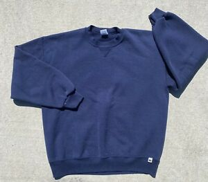 Vintage Russell Athletic Crewneck Sweatshirt XL Navy Blank Made In USA 50/50