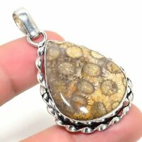 "Entrancing Fossil""Coral Handmade Ethnic Style Jewelry Pendant 1.97 """
