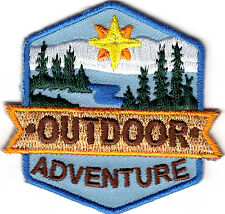"""OUTDOOR ADVENTURE"" Sports Hiking Scouts Girl Boy Cub Camping Iron On Patch"