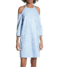 Ted Baker Jettas Cold Shoulder Embroidered Casual Dress Blue Size 0 2630