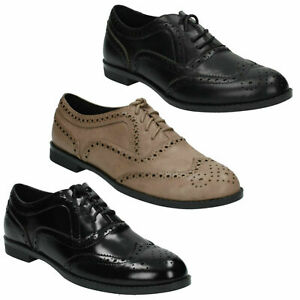 F8R0107 LADIES SPOT ON SMART BLACK TAUPE LACE UP FLAT FORMAL CASUAL BROGUE SHOES