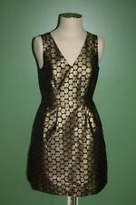 NWT J Crew Metallic Jacquard Gold Black Polka Dot Dress Sz 8 Party Dress