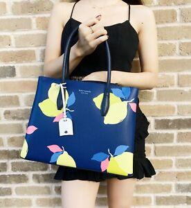 Kate Spade Eva Lemon Zest Medium Top Zip Satchel Leather Bag Blue Handbag Blue