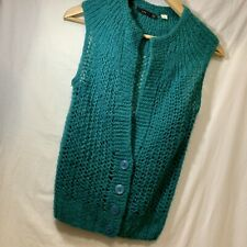 LUX Sweater Vest XS - Teal / Green - Buttons Down Front - So pretty!