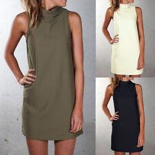 Damen Minikleid Sommer Strandkleid Langshirt Tunika Kleider Partykleid Gr.36-48