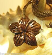 "39.5mm Genuine Carved Hawaiian Acacia Koa Wood Hibiscus Flower Necklace 26"" Adj"
