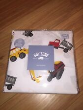 Boy Zone Dump Truck Twin Sheet Set - White Red Yellow & Gray - 100% Cotton