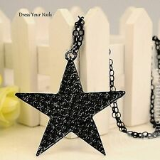 STAR Black Chain Pendent Necklace Large Long Gothic Punk Styled