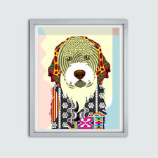 Art Portuguese Water Dog Poster  Portie PWD  Print Puppy Portrait Painting