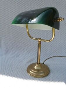 ORIGINAL QUALITY VINTAGE BHS BRASS & DARK GREEN GLASS BANKERS DESK LAMP.