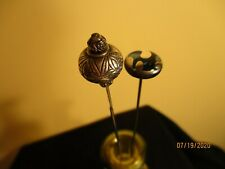 2 contemporary hat pins 1 blue with silver overlay
