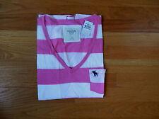 NWT Abercrombie & Fitch Women Brett Pink Striped V Neck Pocket Tee Medium