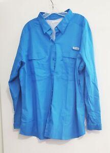 Columbia Womens PFG Plus Size Bonehead Stretch Utility Shirt Blue Sz 2X - NWT