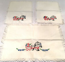 3 piece embroidered cotton scarf set little lambs pulling a flower cart