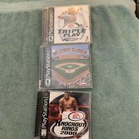 3 Game Ps1 Lot Knockout Kongs 2000 Big League Slugger Baseball Triple Play