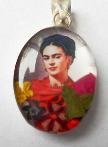Sterling Silver Dried Flower Frida Kahlo Oval Pendant