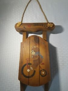 """flexible flyer wooden sled 12"""" tall i love bears winter country Christmas décor"""
