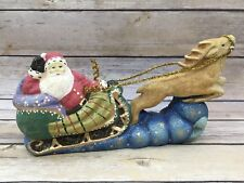 Retried Midwest of Cannon Falls Santa Sleigh and Reindeer Christmas Figurine
