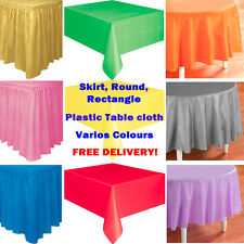 Plastic Tablecloth Tablecover Colour Round Rectangle Skirt Birthday Wedding