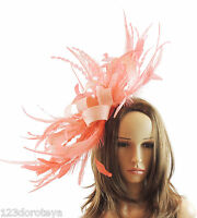 Weddings Proms Orange Red Fascinator for Ascot Derby J2