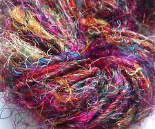 Sari de seda de primera calidad hilo, Arco Iris Multicolors, 100g/Tejer Crochet. textiles// Tejido