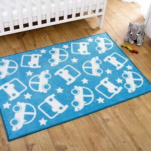 Kids Nursery Rug Blue & White Stars With Cars 100 x 150cm Blue Non Slip Play Mat