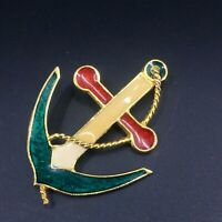 Vintage Gold Tone Enamel Anchor Nautical Patriotic Red White Blue Brooch Pin
