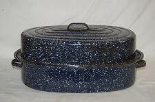 Old Vintage Blue Graniteware Turkey Roaster Roasting Pan w Lid Kitchen Tool