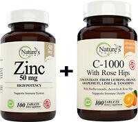 Zinc 50mg + Vitamin C 1000mg, Immune System Support - Immunity Booster (BUNDLE)