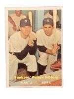 1957 Topps #407 Yankees Power Hitters Mickey Mantle/Yogi Berra VGEX-EX