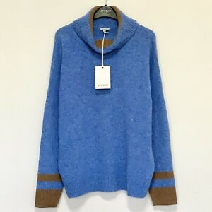 Jigsaw Donegal Slouchy Polo Jumper, Mineral Blue Wool Size L (UK 14) RRP £150