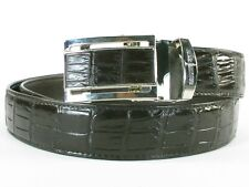 "PELGIO Genuine Crocodile Belly Skin Leather Men's Belt 46"" Long Auto Lock Black"