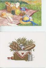 1 BREAD ROLLING PIN NOTE CARD 1 VINTAGE PICNIC BASKET PRINT RECIPE POTATO SALAD