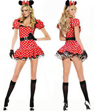 Sexy Halloween Womens Ladies Girls Minnie Mouse Fancy Dress Costume outfit S M L