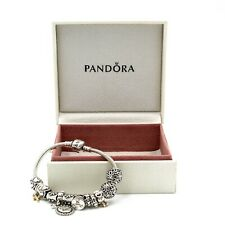 "PANDORA STERLING SILVER 14KT GOLD ACCENT W/ VARIOUS 12 CHARM BRACELET 6"" #974B-4"