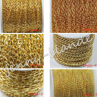 1/5m Gold Plated Cable Open Link Metal Chain Finding 1/3x2/3x4/6x4/8x7/10x5mm