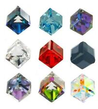 100Pcs 4mm Square Cube Crystal Glass Beads - CLEAR - AB - Colorful
