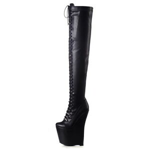 Giaro MISTERY thigh high wedge lace up boots