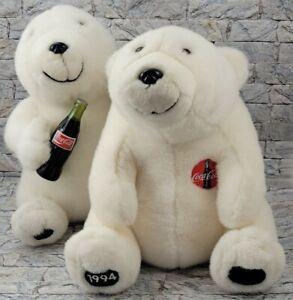 COCA COLA Pop Teddy Bears Vintage 1994 Stuffed Animals 2 COKE Soda PLUSH TOYS