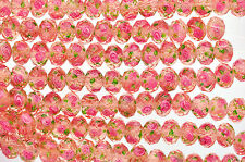 10 pcs PINK and CORAL ROSE Faceted Glass Rondelle Beads 12mm x 9mm bgl0726