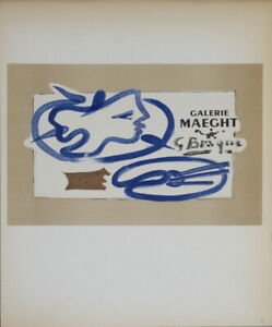 """GEORGES BRAQUE Galerie Maeght 12.5"""" x 9.25"""" Lithograph 1959 Cubism"""
