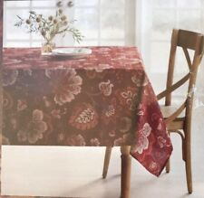 Food Network Textured Tablecloth 60x84 Oblong Floral Leaves Fall Jacobean Bloom