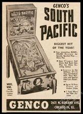 1950 Genco South Pacific pinball machine photo vintage trade print ad