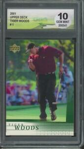 2001 Upper Deck Golf #1 Tiger Woods RC Rookie Gem Mint DGA 10