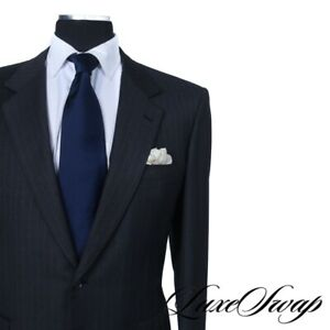 Brioni Made in Italy Traiano Charcoal Grey Pumpkin Pinstripe 2B 2V Suit 54 NR