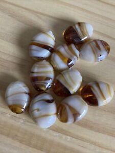 10 GOLDEN BROWN & WHITE  FLAT OVAL SWIRL LAMPWORK Glass Beads 20mm Jewelry